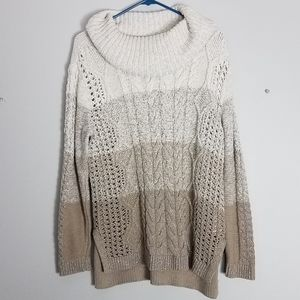WHBM neutral ombre knit metallic sweater